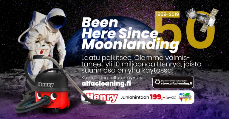 Esimerkki graafisesta mainoksesta, jossa astronautti imuroi kuun pintaa