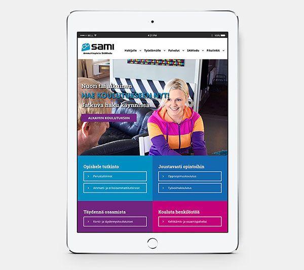 iPad, jossa on auki sami-edun verkkosivu