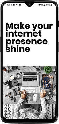 "Puhelin, jossa teksti ""Make your internet presence shine""."