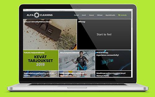 Tietokone, jossa on luomamme Alfacleaningin verkkosivut