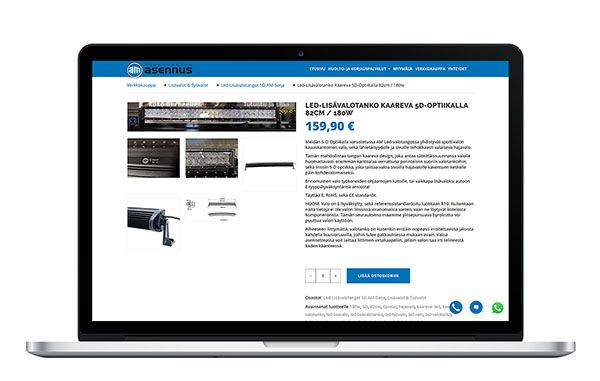 Tietokone, jossa on auki Am-asennuksen verkkokaupan tuotesivu